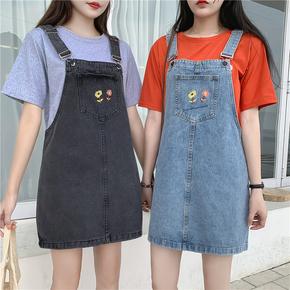 夏2019新款大码胖mm宽松显瘦减龄牛仔背带裙女学生背带连衣裙短裙