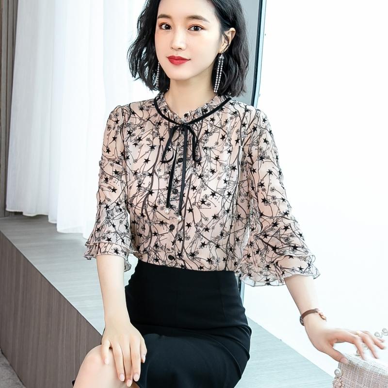 碎花雪纺衬衫女士夏装2020新款超仙高档上衣洋气时尚气质短袖小衫