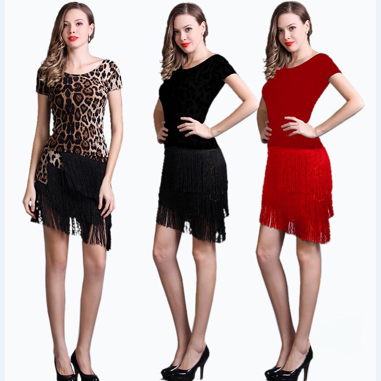 新款成人流苏裙舞蹈服套装黑红豹纹两件套 表演服夏拉丁舞服装女