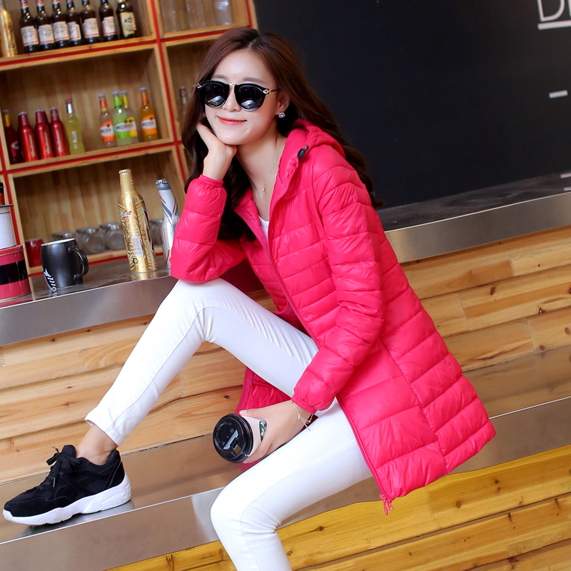 Fall / winter 2020 lightweight Korean down cotton padded jacket womens middle and long hooded slim fit large cotton padded jacket fashion