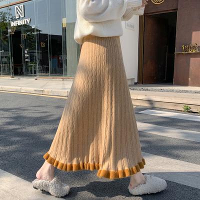 初秋针织半身裙女冬季中长款到脚踝a字垂感裙子大摆秋款毛线伞裙