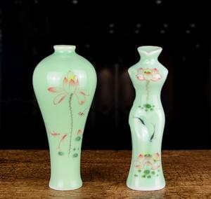 景德镇陶瓷器 迷你手绘荷花小花瓶 中式客厅禅意花插花器茶道摆件