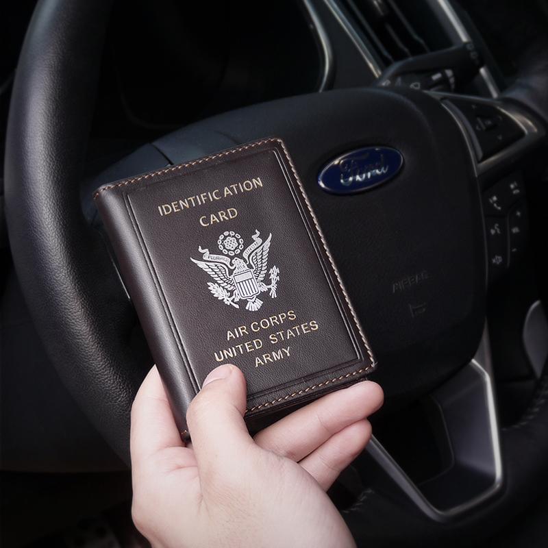 驾驶证皮套男美国飞行员证件夹超薄真皮卡套防消磁多功能迷你卡包
