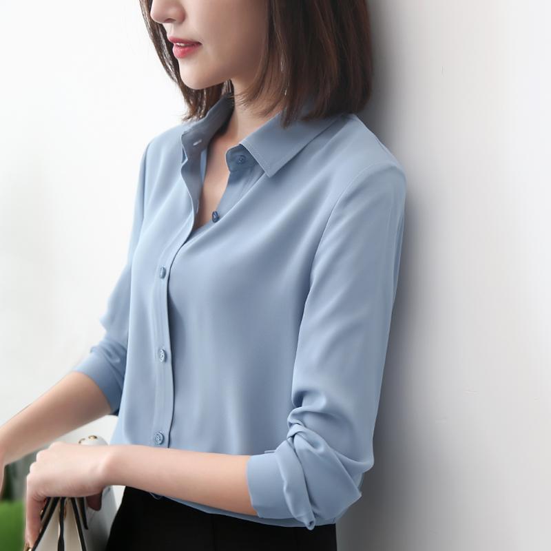 轩腾2018秋季新款早秋雪纺衬衫女长袖韩范白衬衣休闲漏锁骨上衣