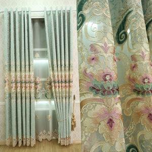 简约欧式窗帘成品高档雪尼尔提花绣花布料客厅阳台落地窗纱帘定制