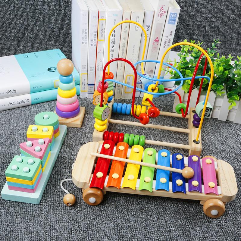 儿童积木一岁宝宝绕珠玩具1-2-3周岁益智串珠婴幼儿6-12个月男孩