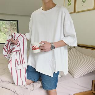 夏季款白色ins短袖男生韓版潮牌不規則5五分袖T恤百搭寬鬆上衣男