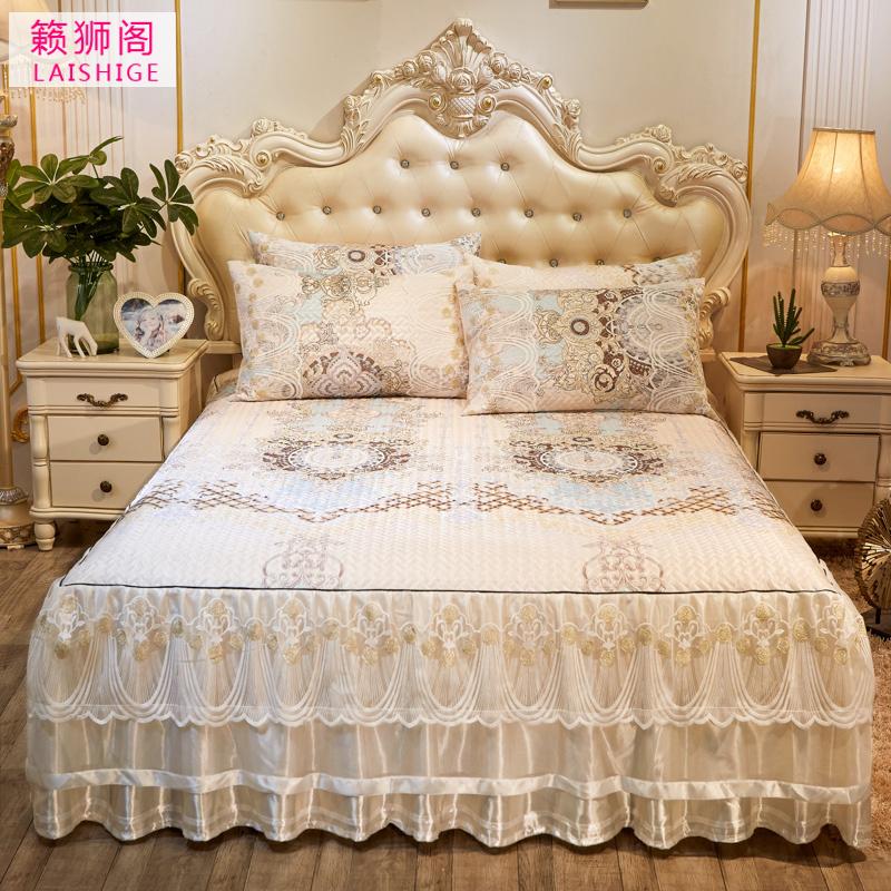 欧式蕾丝床裙冰丝席三件套1.8米加厚可折叠机洗凉席空调软席子2米,可领取5元天猫优惠券