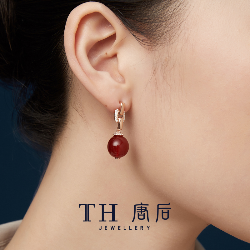 After Tang Dynasty, European and American high-end temperament earrings female natural red agate gemstone earrings sterling silver high-end earrings elder gift