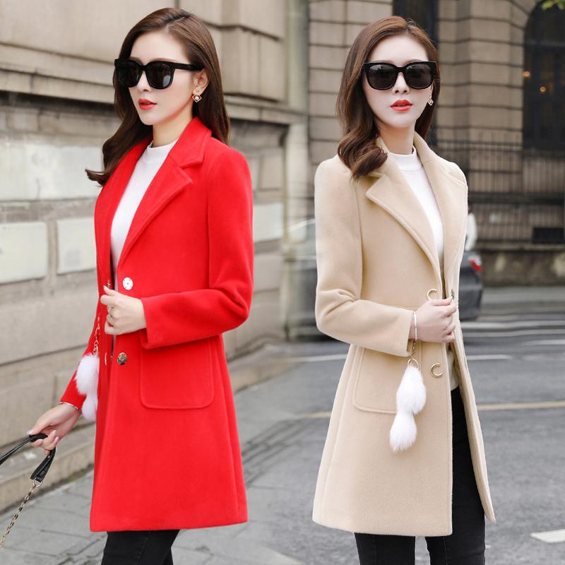 外套女2018新款韩版流行中长款呢子秋冬季女装修身小个子毛呢大衣