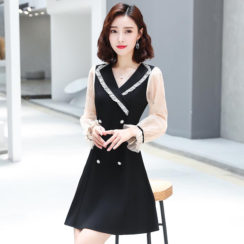 轻熟风连衣裙女2020秋夏季新款气质中长款小黑裙收腰显瘦法式裙子