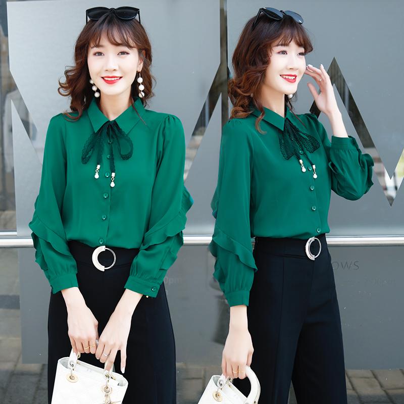 雪纺衬衫女2019新款初秋女上衣轻熟风女装韩版宽松设计感小众衬衣
