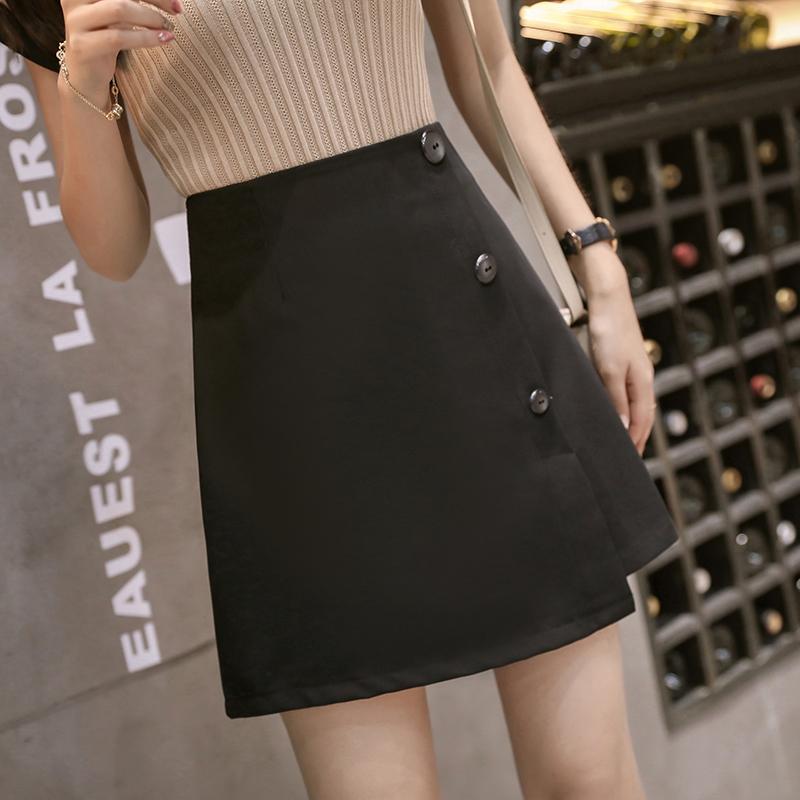 实拍2020新款韩版夏不规则单排扣防走光半身裙子