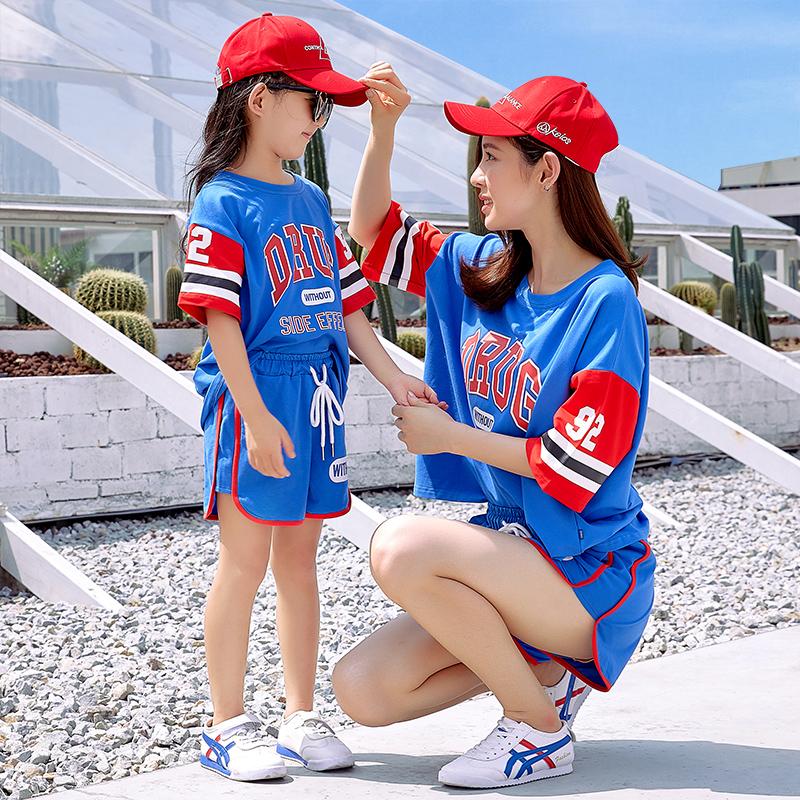 亲子装夏装2018新款潮一家三口全家装母女母子休闲运动套装世界杯