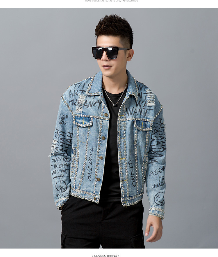This is the hip-hop dance with diamond back printed denim jacket fashion fashion brand loose long sleeve jacket