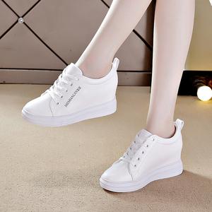2020春季内增高女鞋新款小白运动百搭休闲运动鞋厚底白色镂空夏季