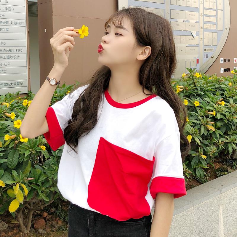 学生党衣服女韩版女生短袖上衣女夏体系t恤女百搭青春少女风女装