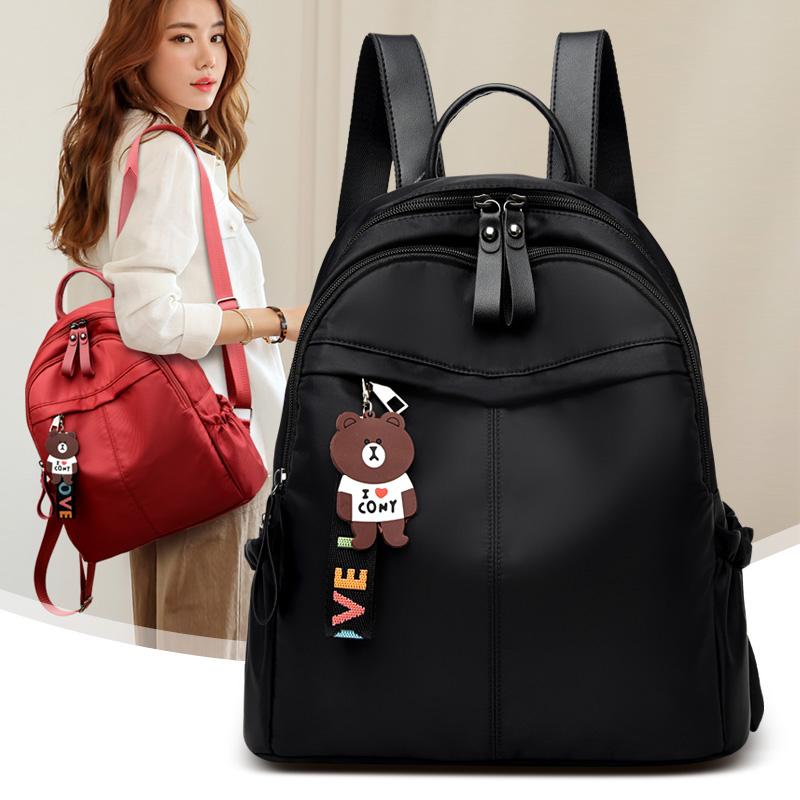 牛津布包双肩包女2021新款潮女士韩版时尚百搭小包包帆布旅行背包