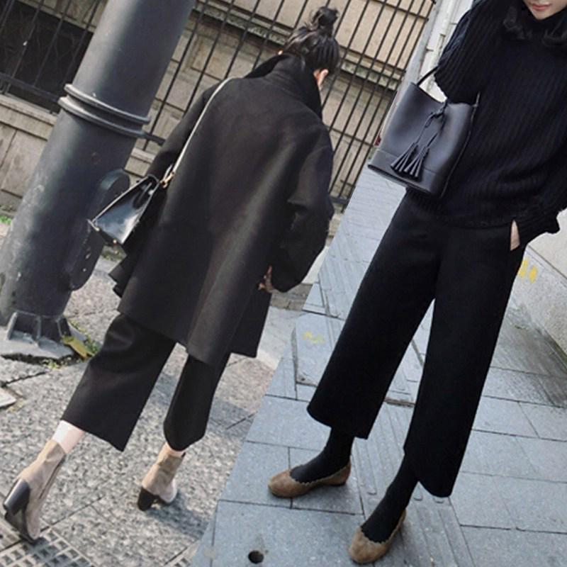 【双面呢】毛呢坠感烟管裤秋冬黑色休闲呢子高腰休闲九分阔腿裤