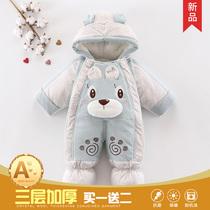 新生婴儿衣服冬季加厚连体衣宝宝保暖哈衣套装加绒棉包脚外出抱衣