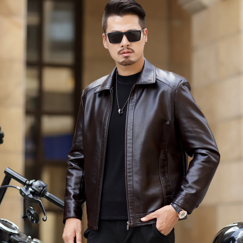 Haining Leather Mens Lapel leather jacket plus Plush thickened top middle aged mens business casual coat in autumn and winter