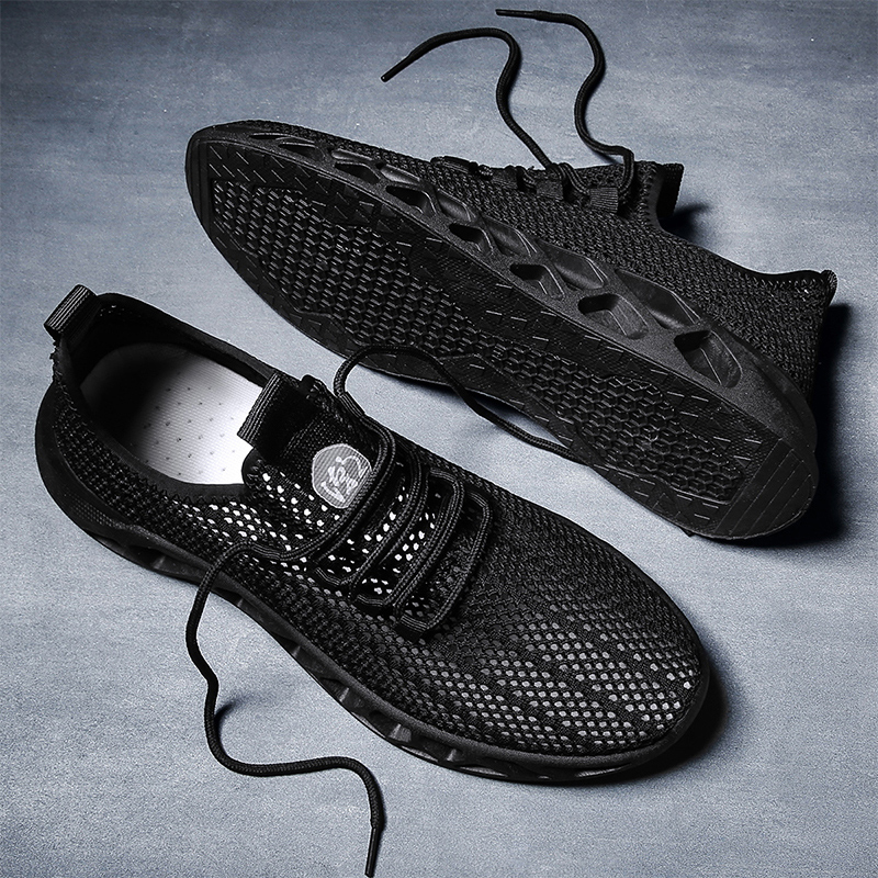 Youth mesh shoes mens summer Korean breathable thin sports and leisure black mens shoes hollow mesh single mesh shoes