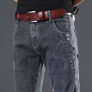 夏季薄款2021新款潮烟灰色牛仔裤男裤子宽松直筒男士休闲裤春秋款