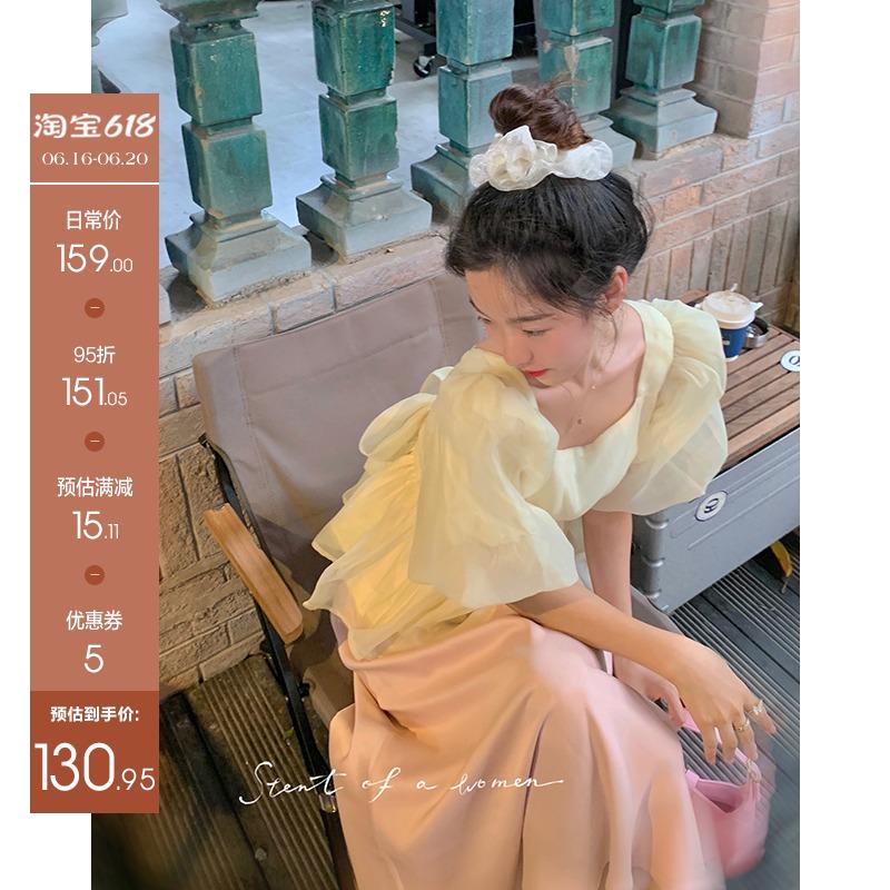 Alice大 方领泡泡袖上衣女2021年新款夏薄款衬衫宫廷风法式小衫潮