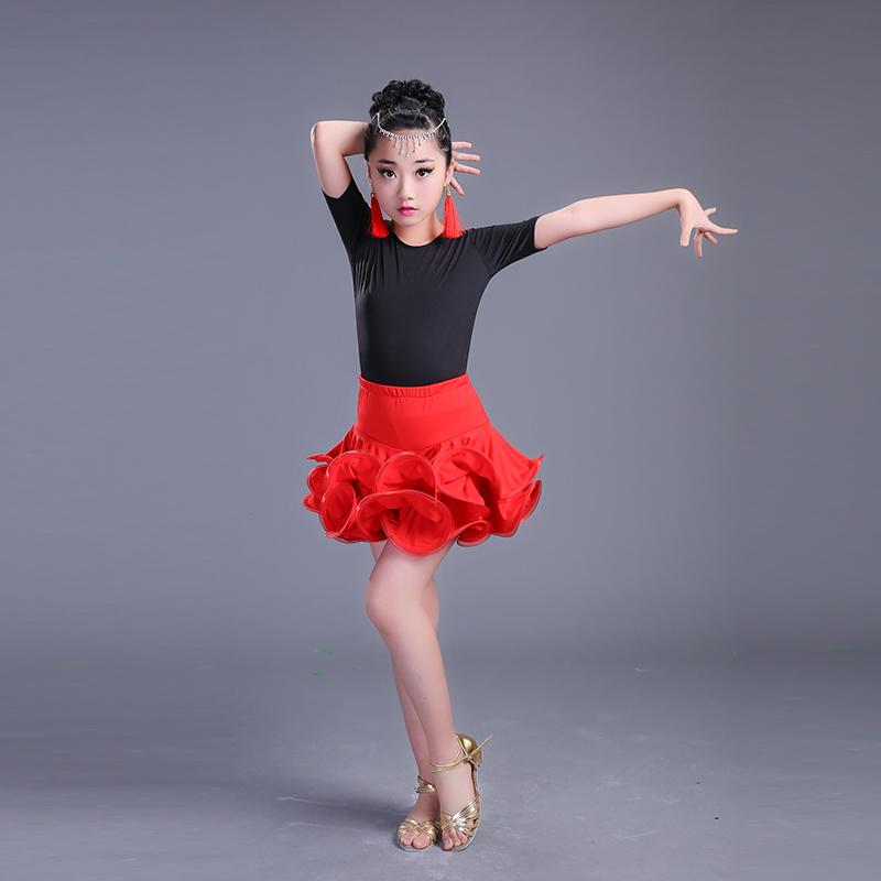 Childrens Latin dance skirt girls practice dress performance dance dress competition performance dress long sleeve short sleeve Girls Summer