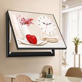水晶单幅液压装 饰画静音挂钟配电箱客厅餐厅挂画水果静物花瓶钟表
