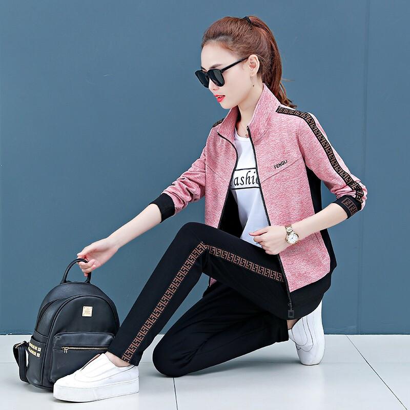 宝多芬 高端女士春秋新款运动服套装时尚韩版开衫运动休闲套装女