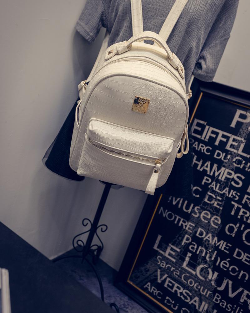 2016 Летние двойной мешок плеча сумочку ранец новой корейской версии потоков крокодил свежие и дикий колледж Ветер мешочек