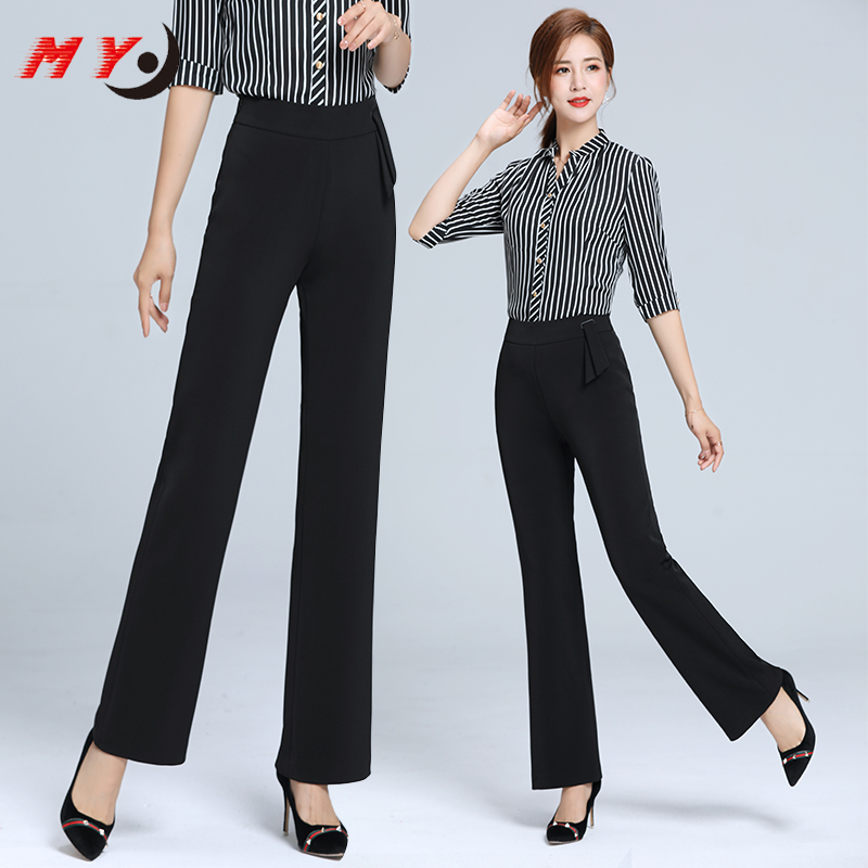 Kaidi black ant drop feeling micro bell pants 2019 new autumn and winter large high waist Black Slim thick casual pants