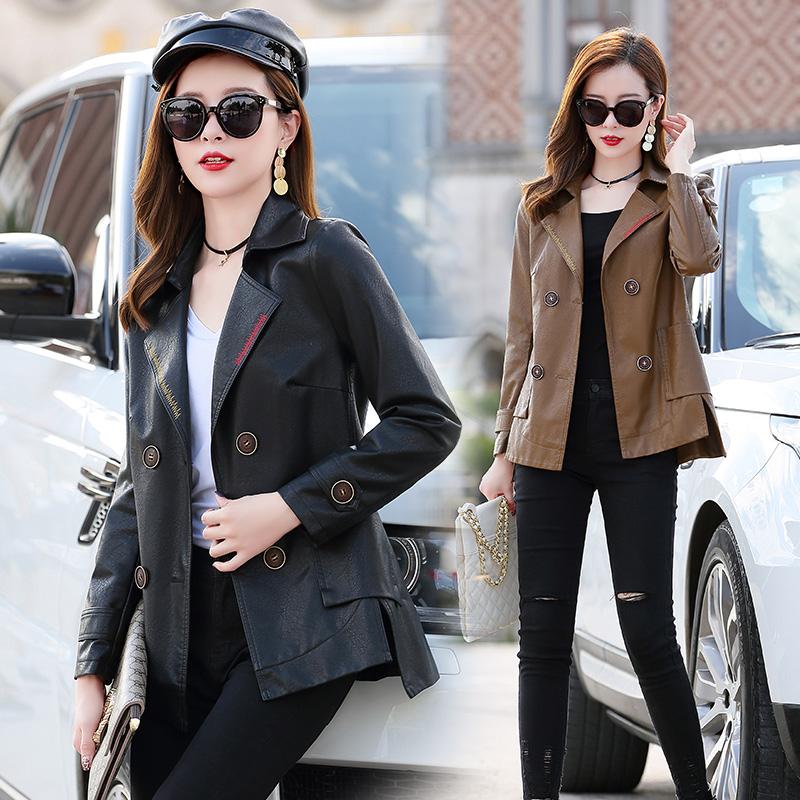 馨香雪韩版PU加棉皮衣女常规款2020春秋休闲双排扣翻领夹克短外套