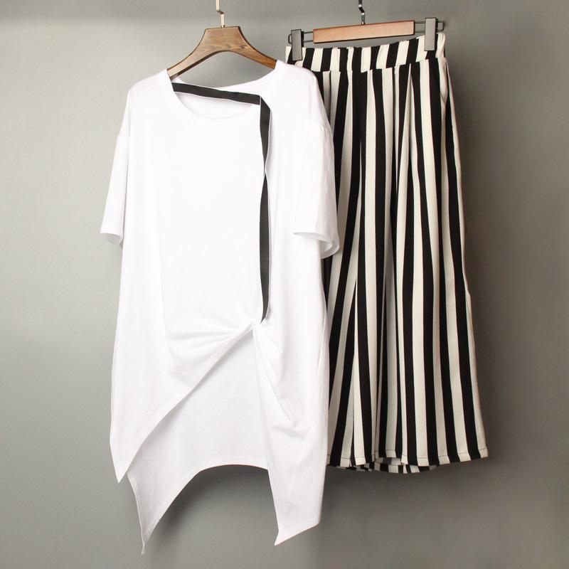 2019春夏新款时尚不规则棉T恤套装女韩版休闲条纹阔腿裤两件套潮68.00元包邮