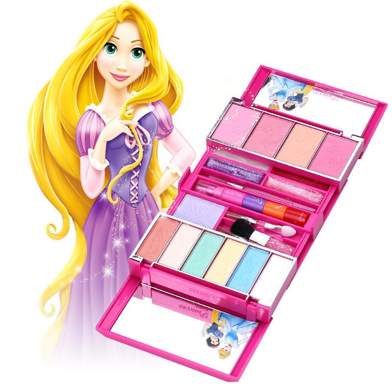 迪士尼兒童化妝品公主彩妝盒套裝女孩玩具過家家玩具生日 正品