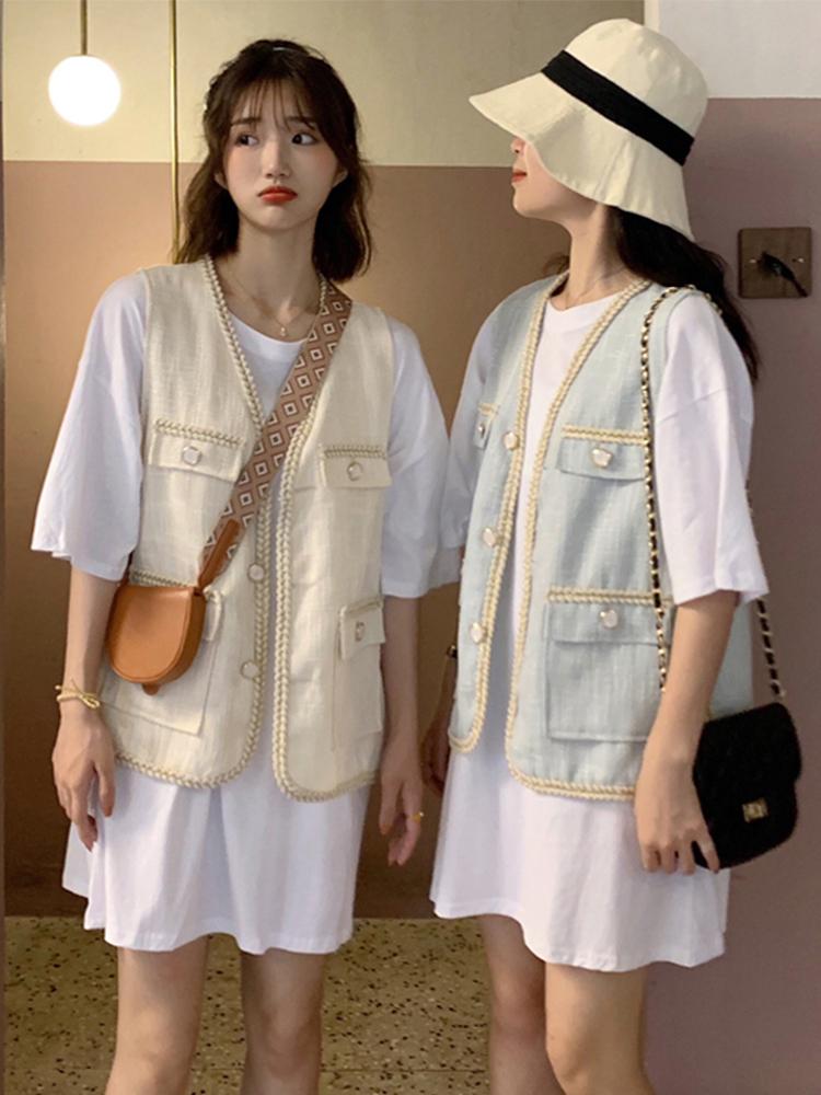 大码女装胖mm夏装新款两件套微胖妹妹中长款背心马甲外套洋气套装(非品牌)