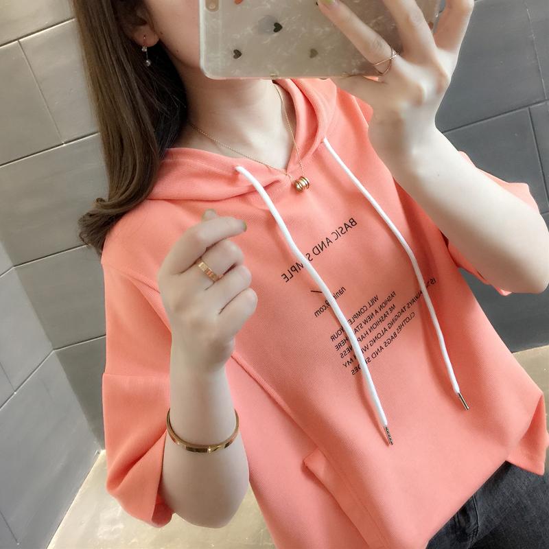连帽短袖橘色t恤女宽松蝙蝠上衣泫雅风字母韩版潮流网红shirt夏季