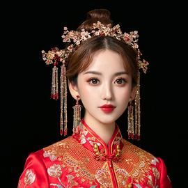 中式新娘秀禾头饰简约凤冠大气秀禾服红色步摇结婚禾服发饰显脸小