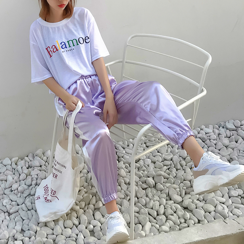 2021 new sports pants female summer student nine Korean version loose and versatile purple silk dove pants silky and smooth