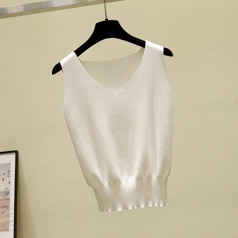 短款V领背心女内搭纯色宽松打底衫冰丝针织衫吊带上衣女外穿夏季(用2元券)