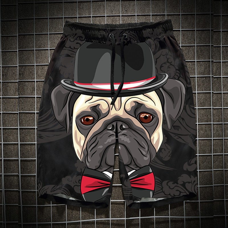 Men's Short Pants Summer Sports Leisure Beach Pants Seaside Holiday Dried Dog Head Loose Personality Trendy Short Pants Men