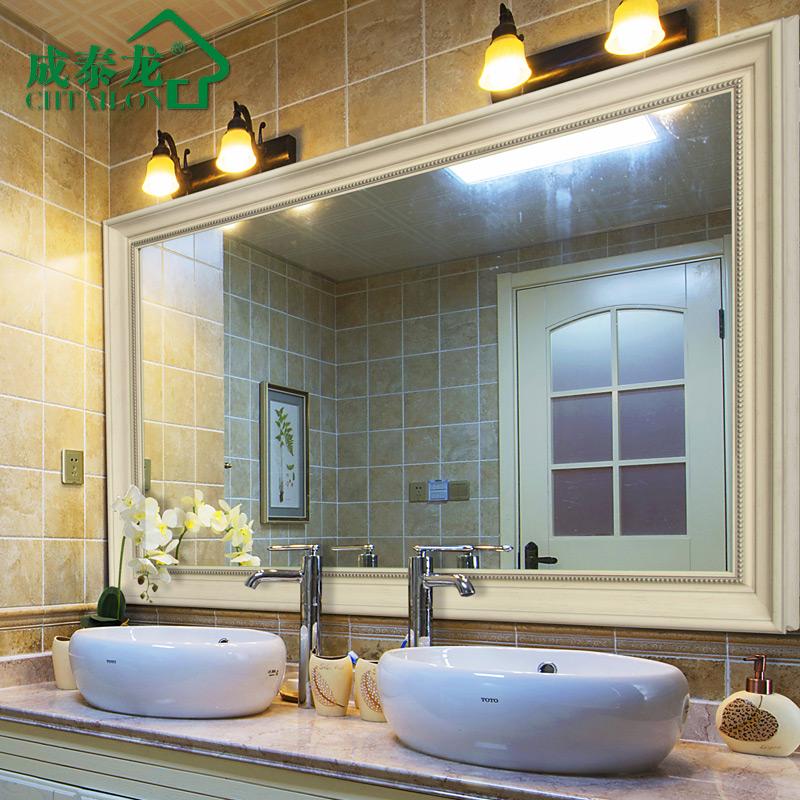 成泰龍 衛生間浴室鏡子壁掛 豪華複古做舊美式歐式浴室鏡子洗手間