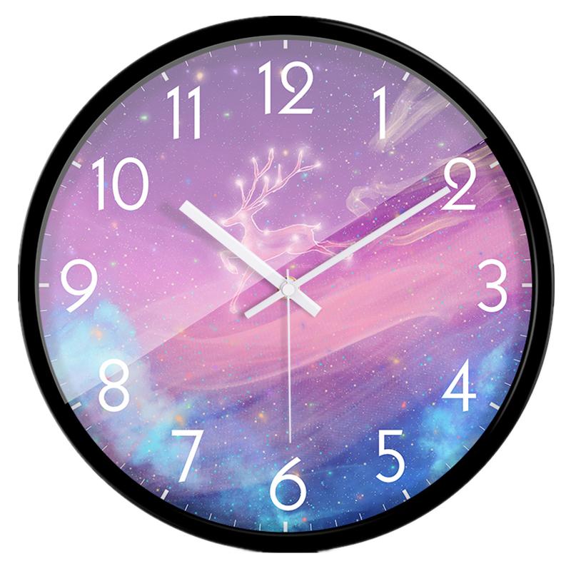 紫の時計可愛い子供部屋掛け時計壁掛け時計静音シンプルなアニメ表1416インチ