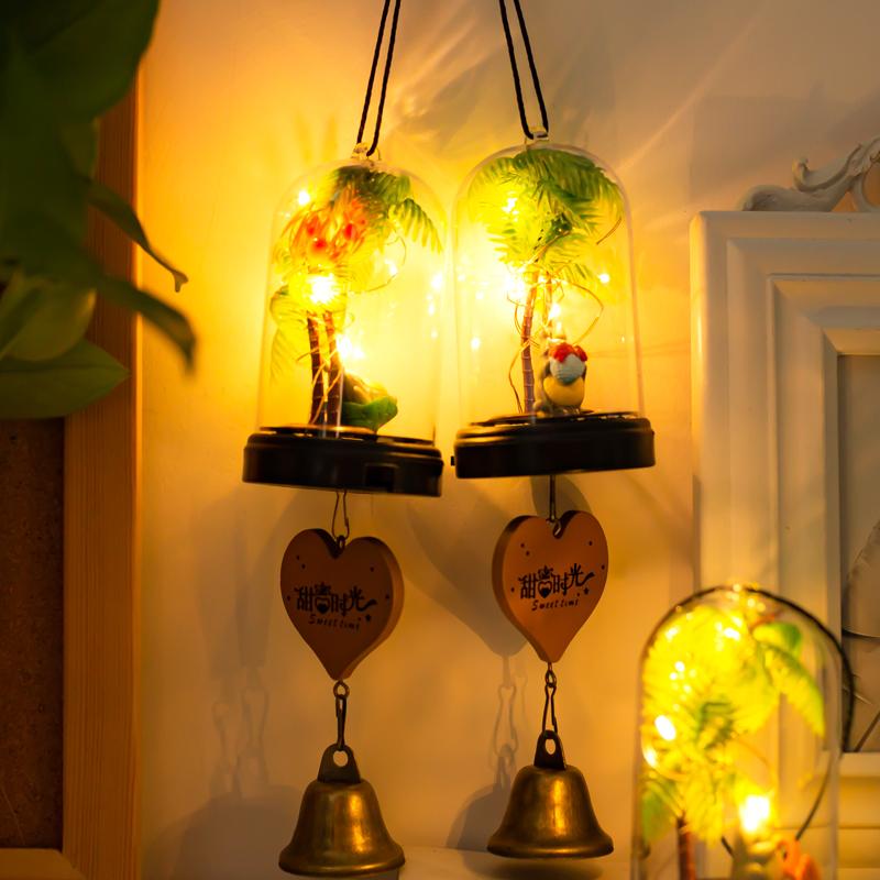 日式玻璃小风铃夜光灯挂饰创意女生卧室门饰儿童新年生日礼物