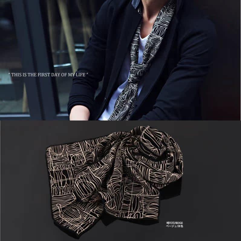 韩国正品 韩版新款 高档宴会聚会商务复古花纹帅气男士围巾 丝巾