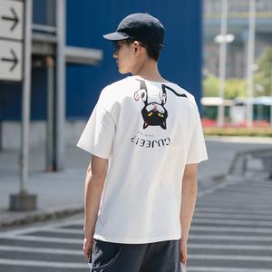 2018夏季背面倒吊猫针织短袖T恤男士宽松体恤潮流休闲半袖圆领上