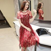 漫兰飘香2018夏装新款大码女装夏季时尚韩版喇叭袖蕾丝连衣裙女