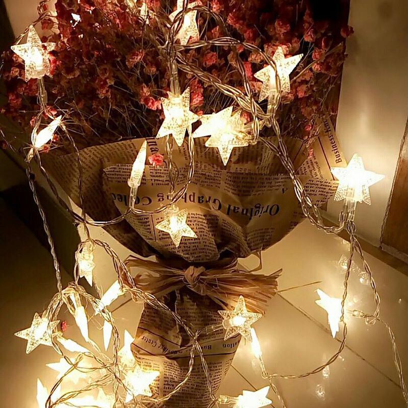 钱康圣诞led彩灯闪灯串灯五角星星圆球抖音装饰节日少女心布置