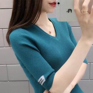 短袖V领针织衫女修身短款中袖打底衫女装上衣薄毛衣套头春夏新款
